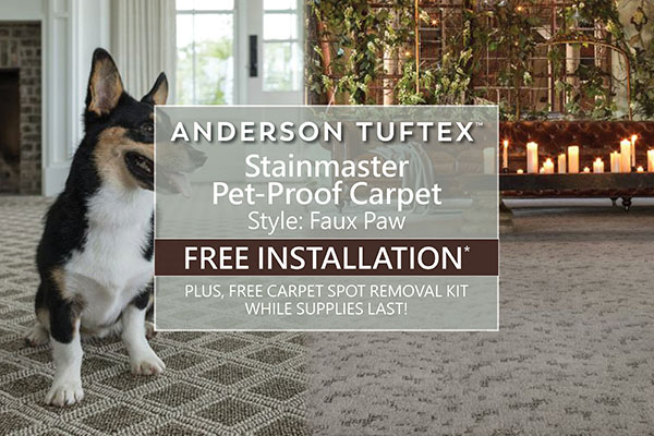 Anderson Tuftex - Stainmaster Pet-Proof Carpet - Style: Faux Paw FREE INSTALLATION* PLUS, FREE CARPET SPOT REMOVAL KIT. WHILE SUPPLIES LAST!