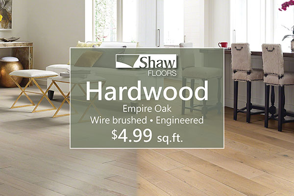 Shaw Hardwood - Empire Oak - Wire-Brushed * Engineered - $4.99 sq.ft.