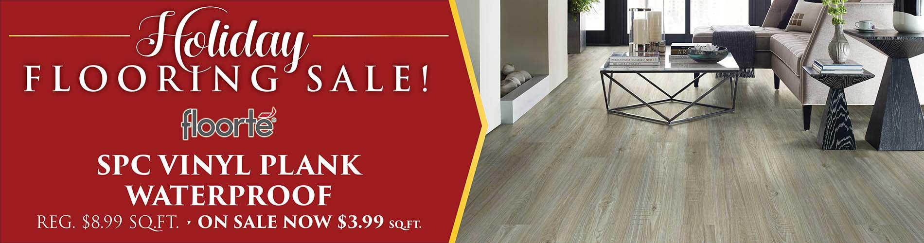 Floorte SPC Vinyl Plank Waterproof Flooring starting at $3.99 sq.ft. during our Holiday Flooring Sale at Fine Floorz in Walnut Creek, CA