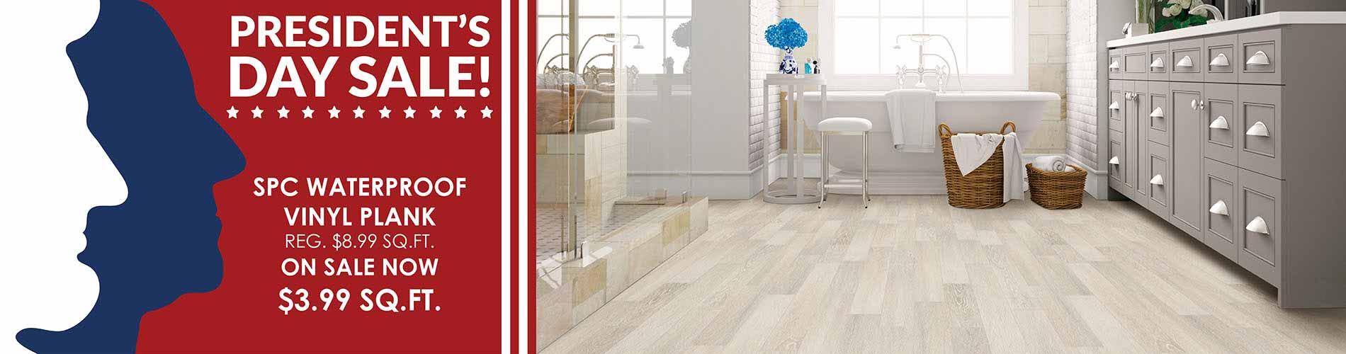 Save on SPC Waterproof Vinyl Plank Flooring during our Presidents Day Sale at Fine Floorz