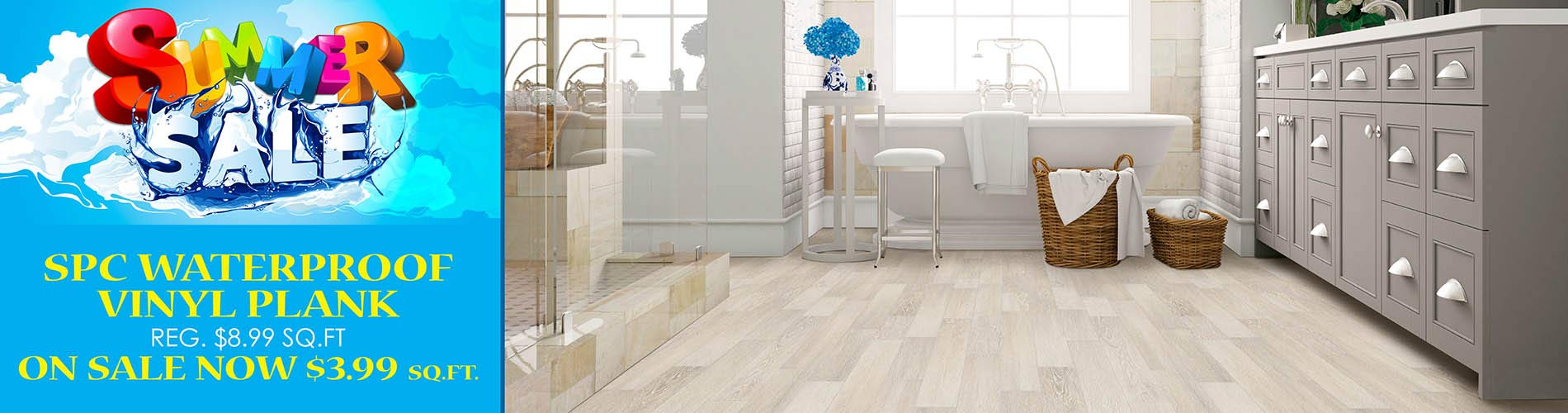 Waterproof vinyl plank now $3.99 sq.ft. during our Summer Sale at Fine Floorz!